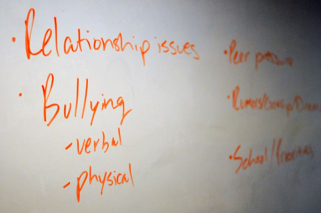A whiteboard displays key words during a Youth Aware of Mental Health session at Uplift Hampton Preparatory School in Dallas on Nov. 15, 2018.