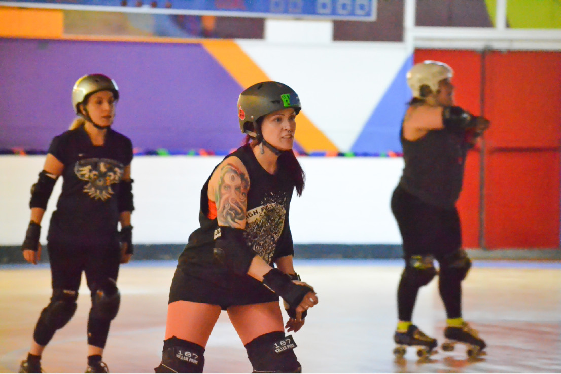 The CT Rollergirls league practice doubled as tryouts for the women's roller derby league in Waterbury on Thursday, Feb. 2, 2017. | Pete Paguaga. Record-Journal