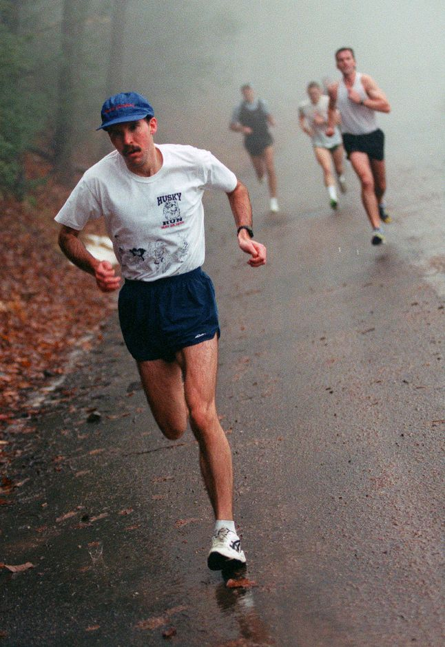 RJ file photo - Jeff Fengler leads the way through the morning fog uphill to Castle Craig during the annual Tradition Run, Jan. 24, 1999.