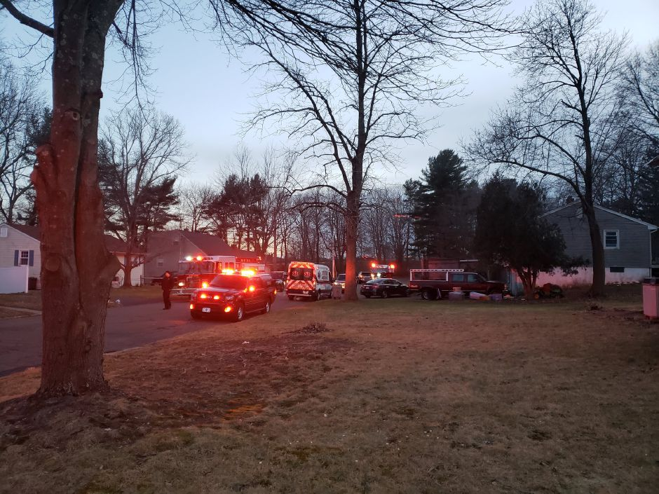 Firefighters responded to a fire at a Belvedere Drive home Monday. | Lauren Sellew, Record-Journal