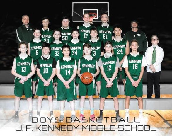 Bill Haman (upper right) and the Kennedy Middle School boys basketball team. | Courtesy of Melissa Haman