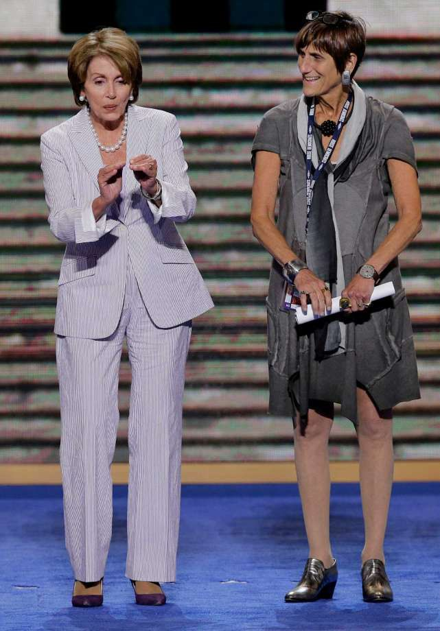 House Minority Leader Nancy Pelosi of California task with Rep. Rosa Delauro of Connecticut, right, during a sound check at the Democratic National Convention in Charlotte, N.C., on Monday, Sept. 3, 2012. (AP Photo/J. Scott Applewhite)