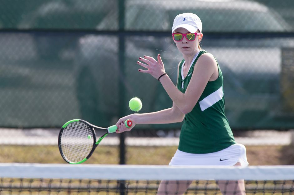 Madison Clancy's win at No. 1 singles led the Maloney girls tennis team to a 6-1 victory over Wilcox Tech on Monday at Maloney High School. | Justin Weekes / For the Record-Journal
