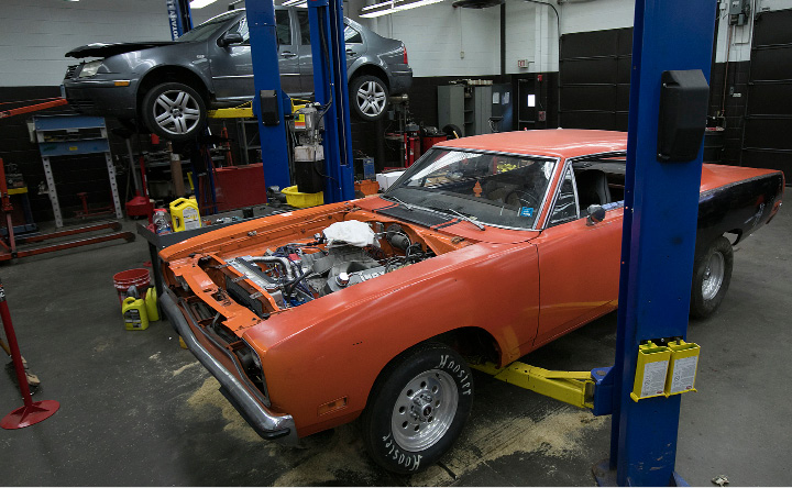 A 1971 Roadrunner seen in a technical education classroom at Southington High School, Friday, March 24, 2017. Student Jared Fernandez is planning a car show fundraiser in honor of Robert Beeney, a technical education teacher who died in 2015. The car show is Saturday May 13 from 10am-3pm at the Southington Drive-in.  | Dave Zajac, Record-Journal