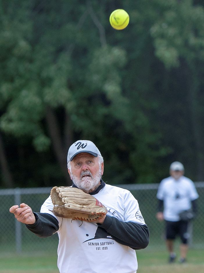 Classics pitcher, Tony Perry, of Orange, delivers to the plate in the fifth inning against the Dodgers during the Jack Doyle Senior Softball League playoffs at Pragemann Park in Wallingford, Monday, Sept. 24, 2018. The Classics defeated the Dodgers 13-5. Dave Zajac, Record-Journal