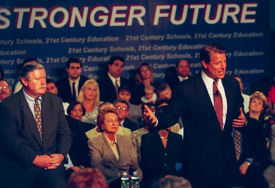 rj file photo vice president al gore makes a point during his speech at lincoln