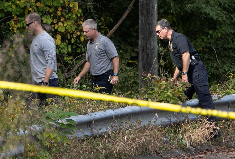 Police investigate after a missing person was found dead near the intersection of Mixville and Marion roads in Cheshire, Thursday, Oct. 4, 2018. | Dave Zajac, Record-Journal