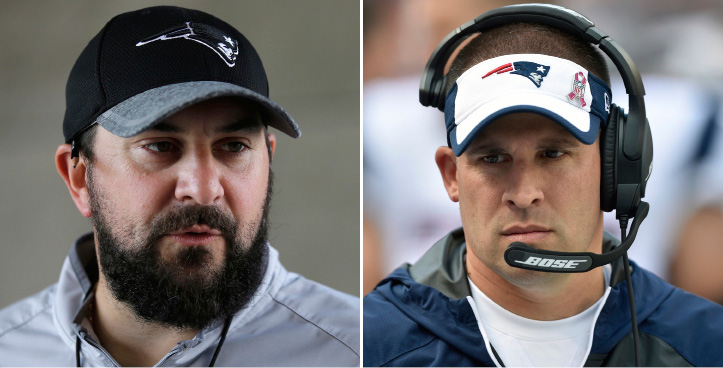 FILE - At left, in a July 27, 2016, file photo, New England Patriots defensive coordinator Matt Patricia takes questions from members of the media at Gillette Stadium in Foxborough, Mass. At right, in an Oct. 9, 2016, file photo, New England Patriots offensive coordinator Josh McDaniels walks on the sideline during an NFL football game against the Cleveland Browns, in Cleveland. Patriots coordinators Josh McDaniels and Matt Patricia have been considered among the best minds in football for a while now. The jobs they