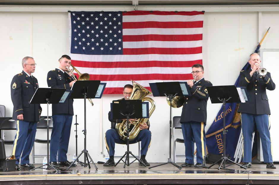 Members of the Army Band quintet perform during the celebration of the American Legion's 100th anniversary at the annual American Legion Post 45 All American Picnic in Meriden on Saturday, Sept. 14, 2019. Emily J. Tilley, special to the Record-Journal.