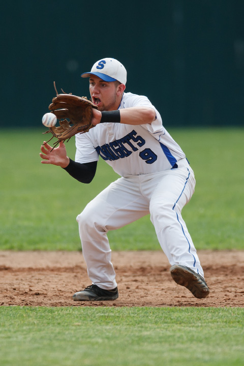 Southington's Joe Daigle fields the ball.| Justin Weekes / For the Record-Journal