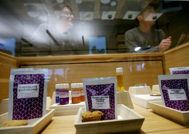 Cannabis products are displayed at the Cultivate dispensary on the first day of legal recreational marijuana sales, Tuesday, Nov. 20, 2018, in Leicester, Mass. Cultivate is one of the first two shops permitted to sell recreational marijuana in the eastern United States, more than two years after Massachusetts voters approved it in 2016. (AP Photo/Steven Senne)