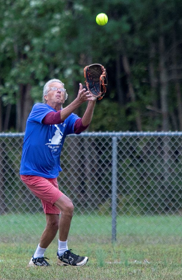 Dodgers left fielder Mike Pearson, of Northford, tracks down a fly ball, during the Jack Doyle Senior Softball League playoffs at Pragemann Park in Wallingford, Monday, Sept. 24, 2018. The Classics defeated the Dodgers 13-5. Dave Zajac, Record-Journal
