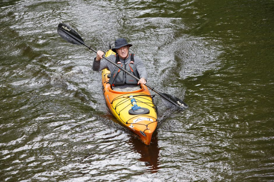 David Whitty of East Hampton Sunday during the 38th annual Down River Classic on the Quinnipiac River in Meriden May 20, 2018 | Justin Weekes / Special to the Record-Journal