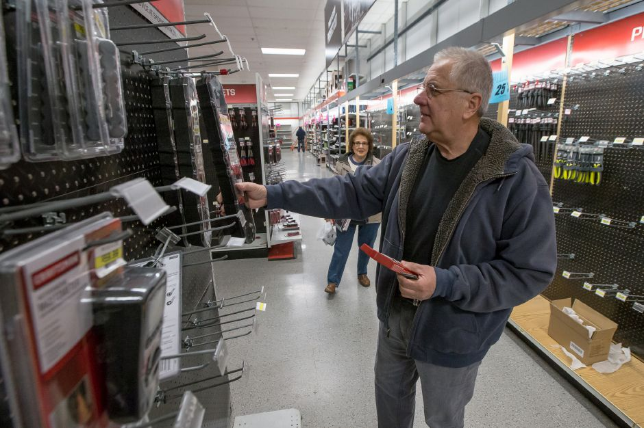 Eugene Klesser of Madison shops for tools at the Sears in the Westfield Mall Monday continues to sell off inventory after filing for bankruptcy in October of this year. December 31, 2018 | Justin Weekes / Special to the Record-Journal