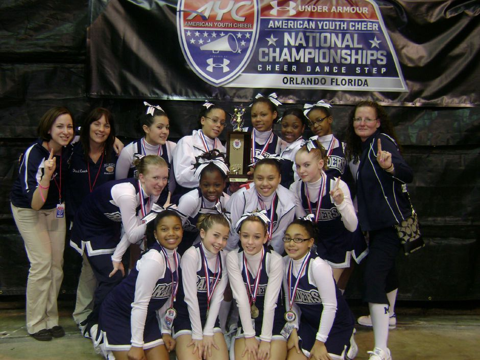 Meriden Raiders Cheerleaders pictured here won a national cheerleading competition.