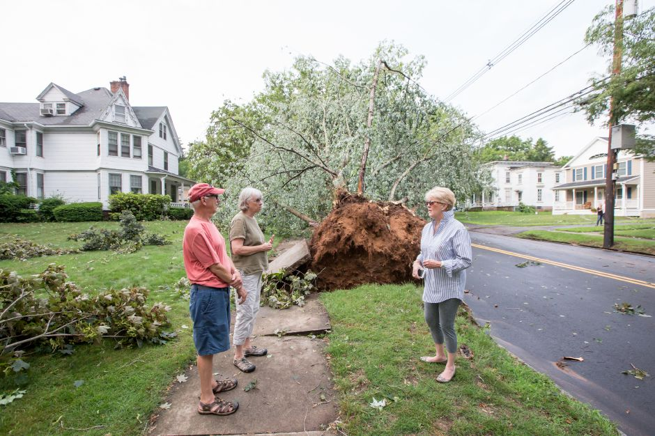 Jeff and Bonnie Borne talk with Judi Gallagher near the uprooted tree on South Main Street Tuesday in Wallingford Jun. 23, 2015 | Justin Weekes / For the Record-Journal