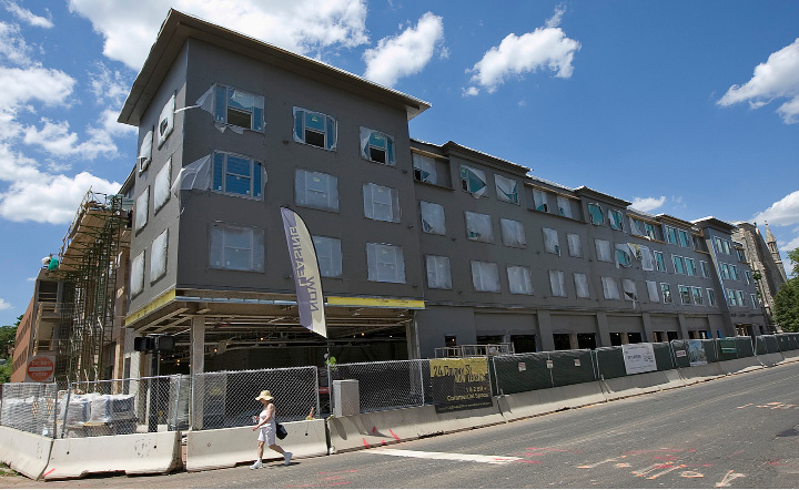 Construction of a mixed-use building at 24 Colony St. in Meriden continues, Friday, June 24, 2016.  | Dave Zajac, Record-Journal