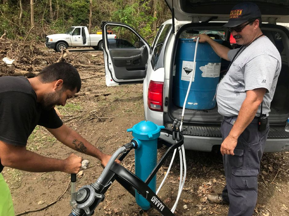 Meriden fire Lt. Danny Torres helped install water filters in Puerto Rico, where he has family. | Courtesy of Danny Torres