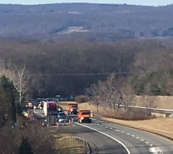 State police shut down Interstate 691 eastbound in Meriden after a fatal Christmas morning crash. | Leigh Tauss, Record-Journal