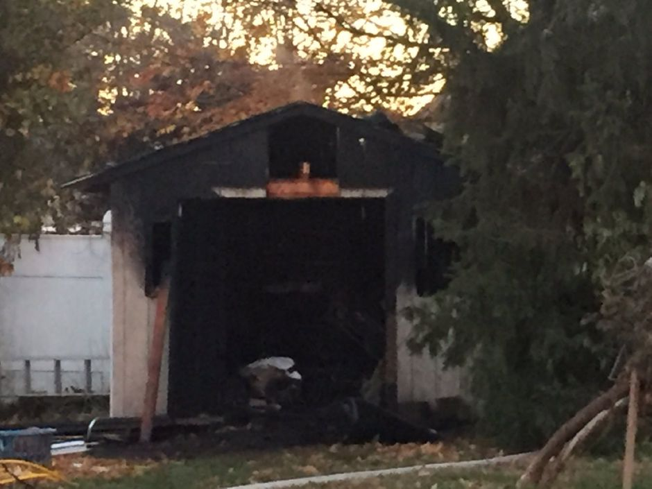 Firefighters extinguished a shed fire on Ford Street in Southington on Monday, Nov. 13, 2017. | Bailey Wright, Record-Journal