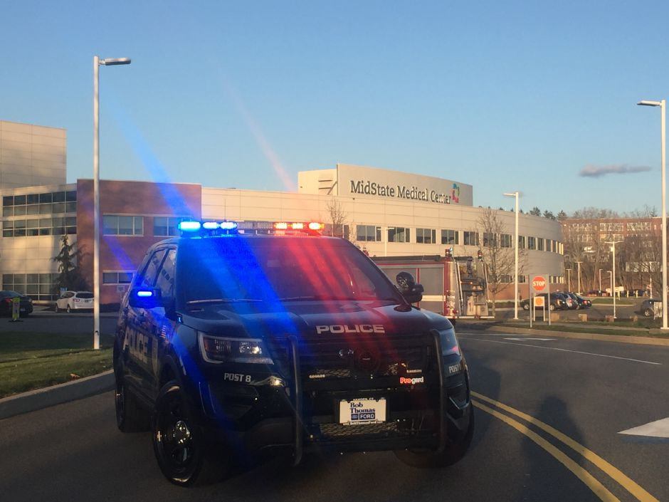 City firefighters and the Department of Energy and Environmental Protection, are responding to an incident at MidState Medical Center. | Bailey Wright, Record-Journal
