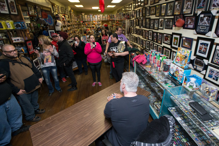 Pro wrestler Kevin Nash signs autographs for fans Saturday at M & J Video Game and First Base Collectables in Wallingford Jan. 30, 2016 | Justin Weekes / For the Record-Journal