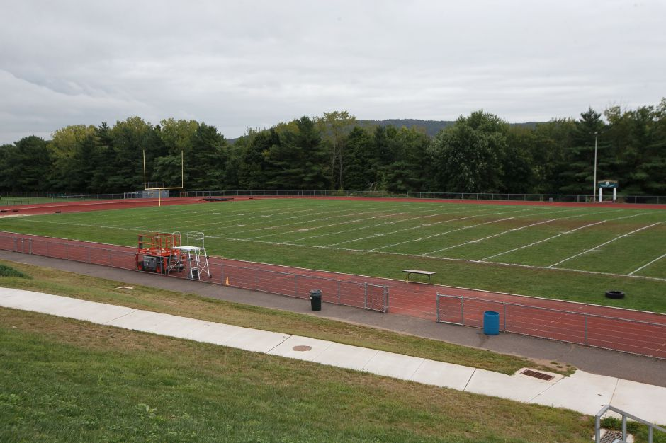 Maloney's track has had numerous repairs made to its surface.  Justin Weekes, special to the Record-Journal