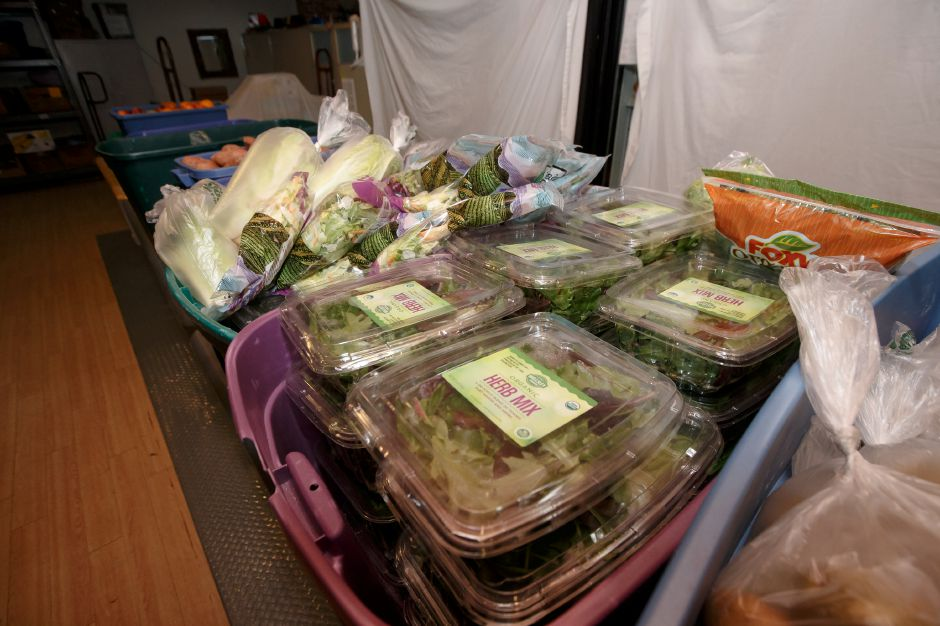 Fresh produce for distribution to clients only lasts on to two days Monday at Masters Manna in Wallingford February 19, 2018 | Justin Weekes / Special to the Record-Journal