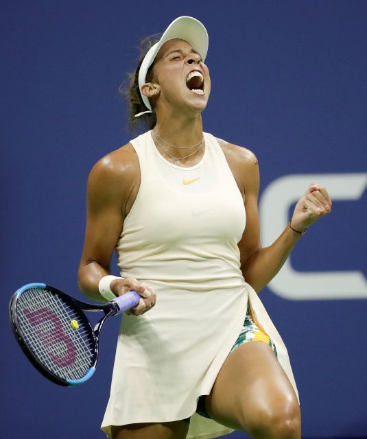 Madison Keys reacts after holding serve against Naomi Osaka, of Japan, during the semifinals of the U.S. Open tennis tournament, Thursday, Sept. 6, 2018, in New York. (AP Photo/Julio Cortez)