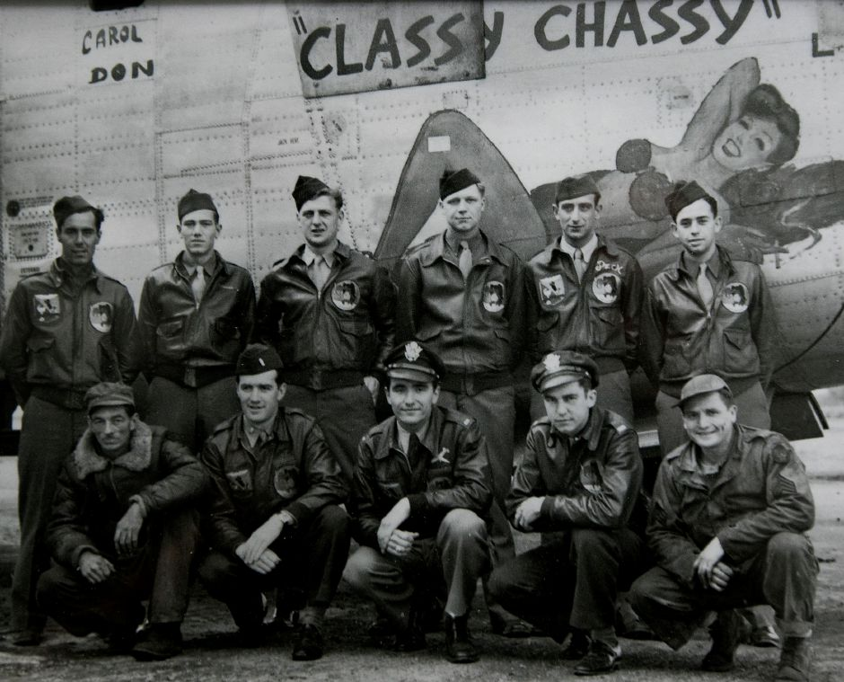 WWII U.S. Army Air Force veteran, Irvin Daubert, of Cheshire, standing third from right, with his B-24 bomber crew. Daubert is one of the oldest members of the town's VFW post and was honored by the Town Council earlier this year. Courtesy Irvin Daubert
