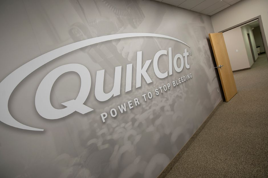 The QuikClot logo seen in an office at Z-Medica in Wallingford, Monday, Jan. 8, 2018. Dave Zajac, Record-Journal