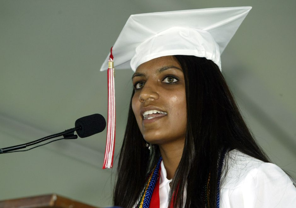 Radhika Nakrani gives her valedictorian address to the class of 2006 at the Cheshire H.S. graduation ceremony on June 20, 2006.