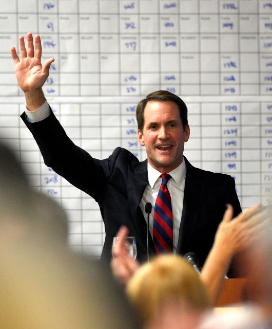 U.S. Rep. Jim Himes speaks during the Democratic Election Night Watch Party at the Sheraton Stamford Hotel in Stamford, Conn., Tuesday, Nov. 6, 2018. Incumbent Himes defeated Republican challenger Harry Arora in the battle for Connecticut