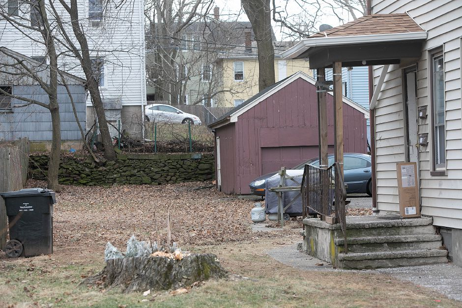 The backyard of 130 Foster Street in Meriden, Fri., Jan. 18, 2019. Aaron Joseph Ormsby, 21, was shot and killed in back of the residence Thursday night. Dave Zajac, Record-Journal