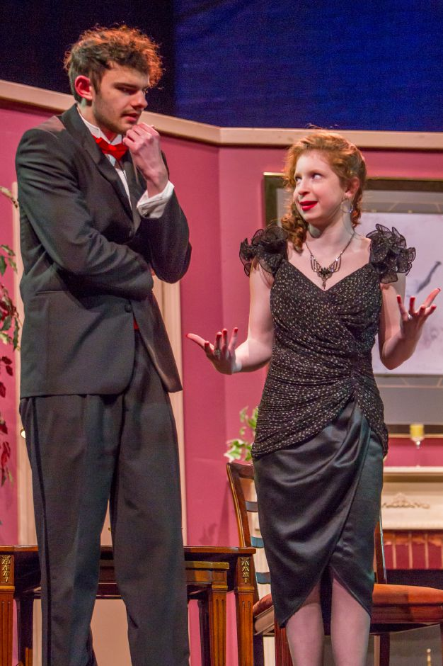 Connor Parente as Lenny and Piper Birney as Claire rehearse for the Lyman Hall High School theater production Feb. 6, 2019. | Ron Paris, Special to the Record-Journal
