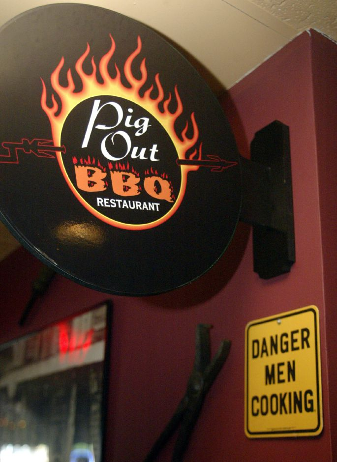 A sign inside the Pig Out BBQ Restaurant on Eden Ave. in Southington.