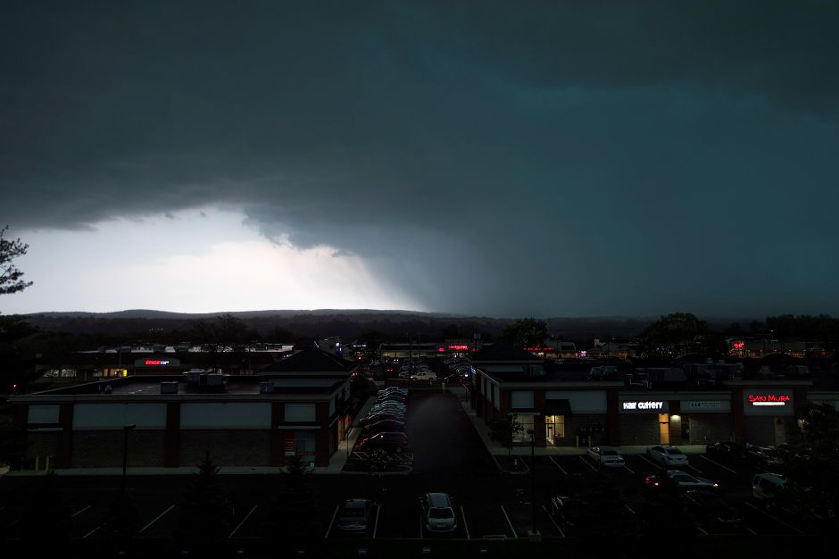Dark clouds move in over theTownline Square Shopping Center in Meriden during Tuesday