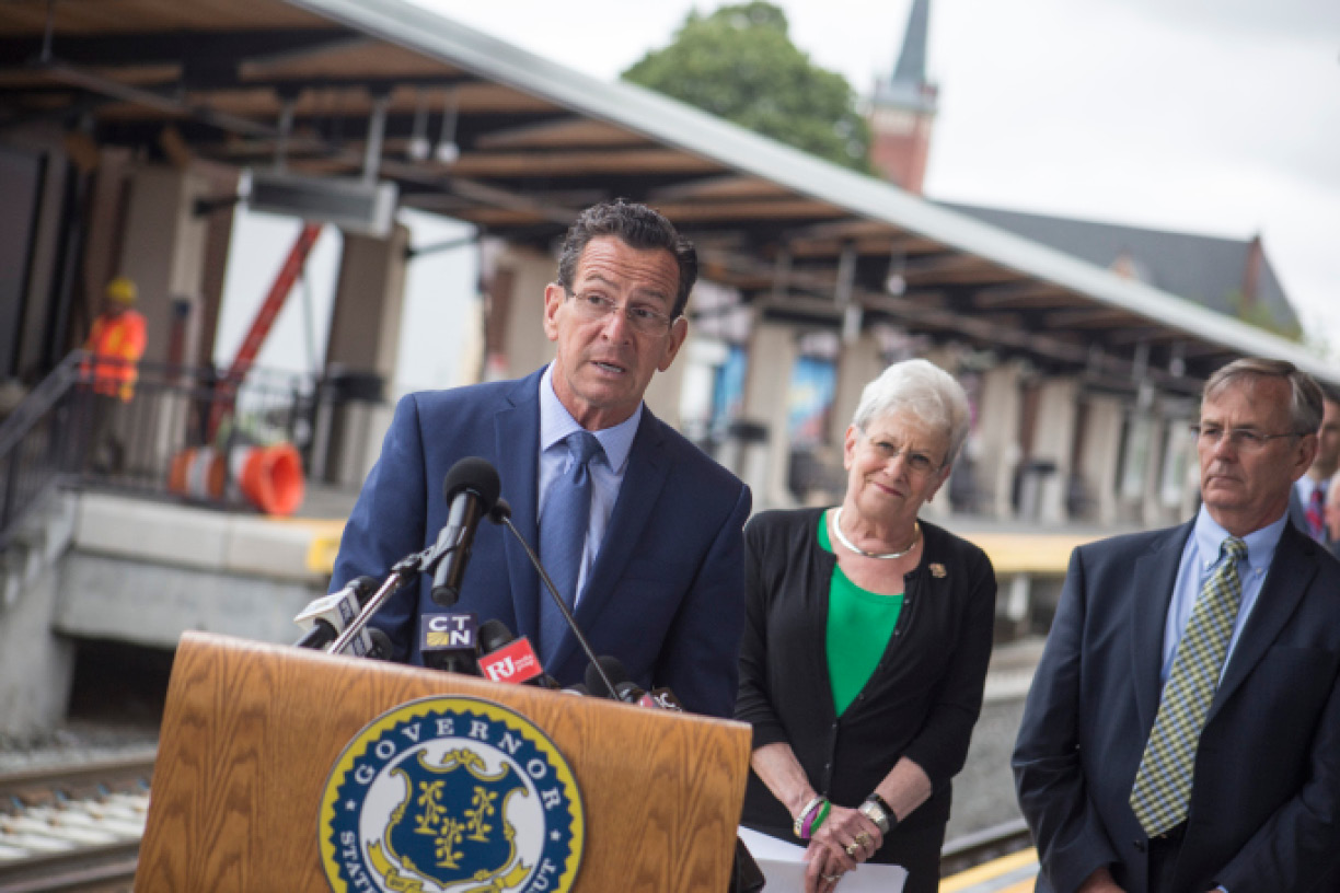 Gov. Dannel P. Malloy speaks during a press conference at the Wallingford train station Monday July 24, 2017 naming TransAmerica Services and Alternate Concepts as the service provider for the new high speed rail service. | Richie Rathsack, Record-Journal