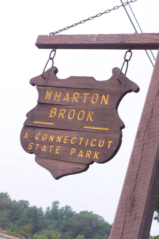 The Wharton Brook State Park sign that is seen from Route 5 in North Haven, just below the Wallingford town line.