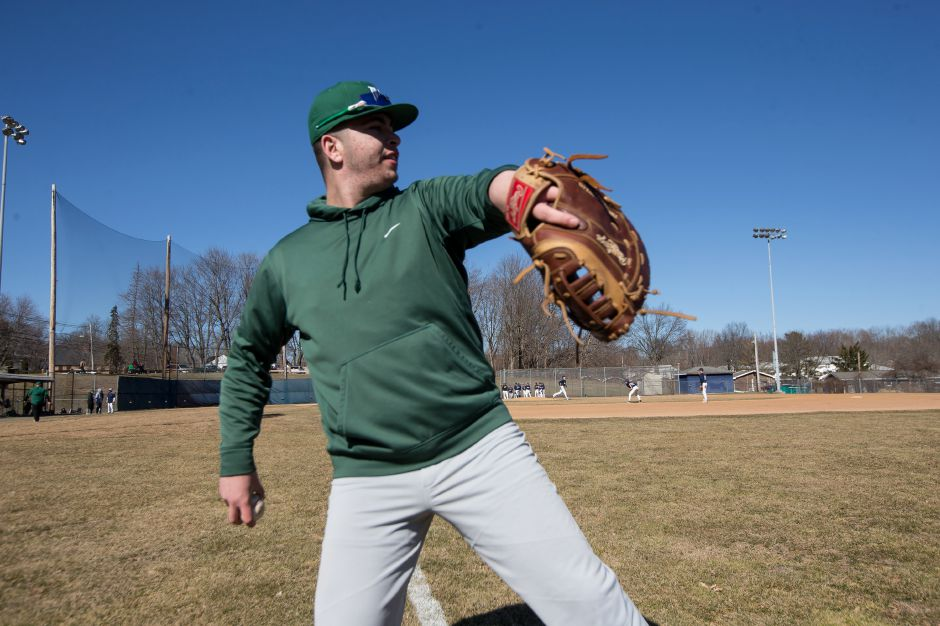 Owen Papciak threw the first three innings of Maloney's no-hitter against Hartford Public on Wednesday. | Justin Weekes / Special to the Record-Journal