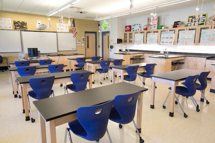One of several classrooms that will be used by Middlesex Community College students at Platt High School, Thursday, August 17, 2017. | Dave Zajac, Record-Journal