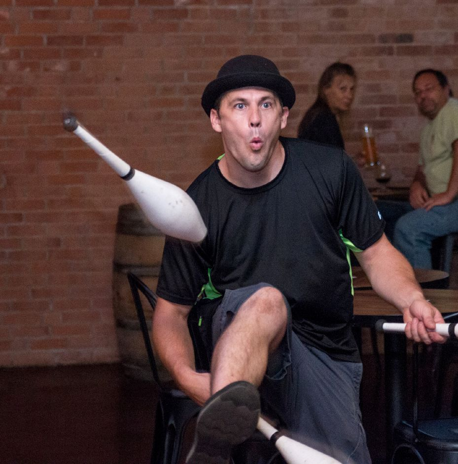 Kinsmen Brewing ranks fifth on TripAdvisor.com's list of things to do in Southington. In this file photo, Jason Pipitone, a local entertainer, juggles at the Small Business Party on August 10, 2017. | Devin Leith-Yessian/Special to the Record-Journal