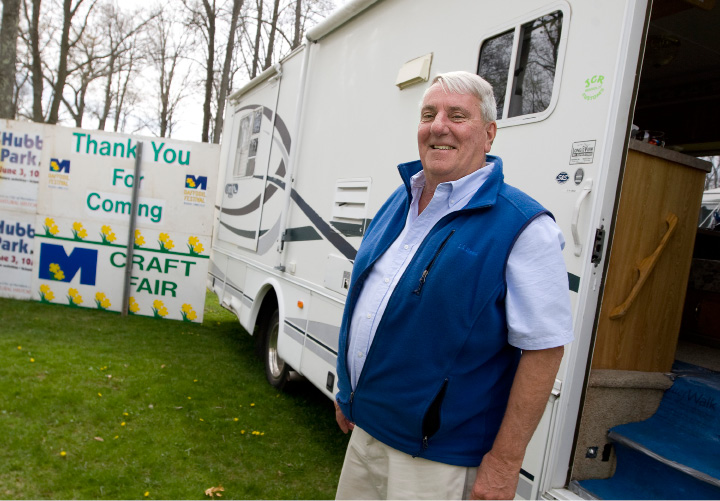 City Parks and Recreation Director Mark Zebora steps out of a mobile trailer parked on the grounds of the Daffodil Festival at Hubbard Park in Meriden, Monday, April 25, 2016. For the entire festival weekend, and most of the week between event weekends, Zebora will be running operations from the mobile trailer.   |  Dave Zajac / Record-Journal