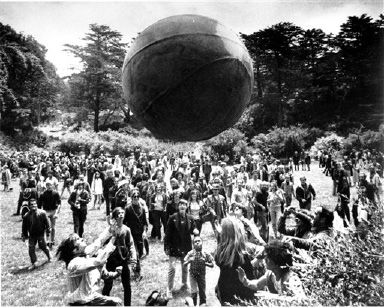 "**ADVANCE FOR MONDAY, JUNE 25-FILE**  A crowd keeps a large ball, painted to represent a world globe, in the air during a gathering at Golden Gate Park in San Francisco, to celebrate the summer solstice on Thursday, June 21, 1967, day one of ""Summer of Love."" If the Summer of Love established San Francisco as the hub of hippiedom, the summer of 2007 may one day be remembered as a time when the city and the rest of the country commemorated 1960s counterculture by taking the ""counter"" out of it. (AP Photo)"