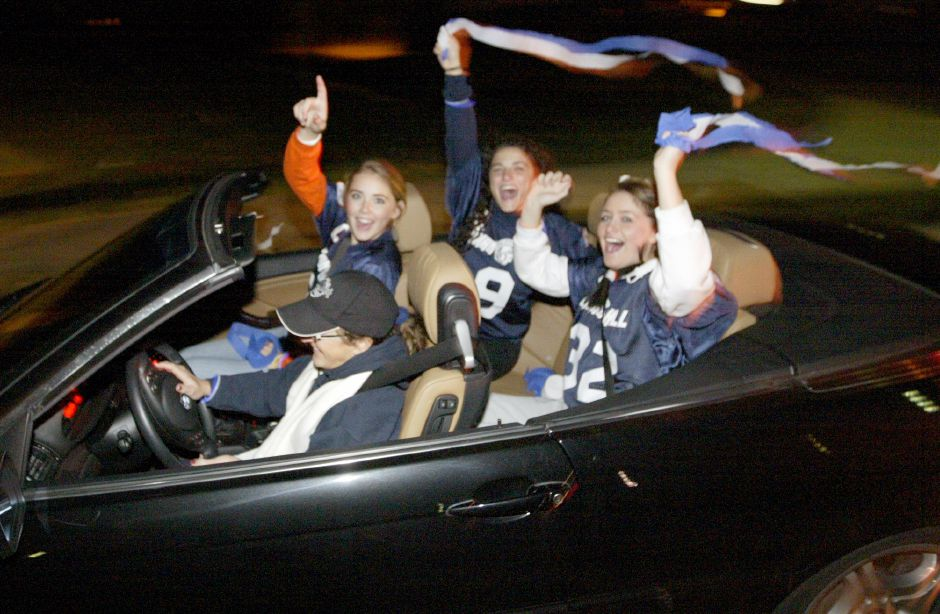 WALLINGFORD, Connecticut - Tuesday, November 24, 2009 - Lyman Hall girls are shown in the motorcade that took place on Tuesday night around town. Rob Beecher / Record-Journal