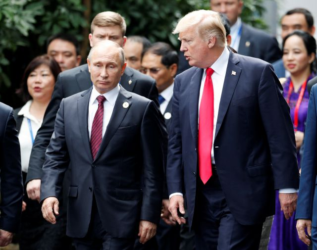 U.S. President Donald Trump, right, and Russia