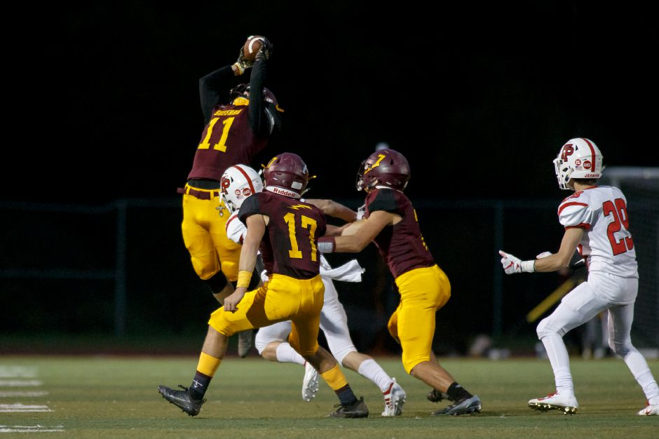 Michael Lemay had one of Sheehan's two interceptions in Friday night's 28-8 victory over Griswold at Riccitelli Field. | Justin Weekes / Special to the Record-Journal