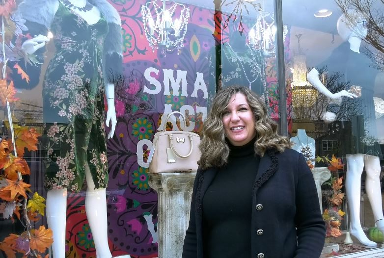 Owner Christine Rinere of The Dressing Room stands outside a window that will soon be part of the annual Wallingford Holiday Window and Porch Display Contest. |Ashley Kus, Record-Journal