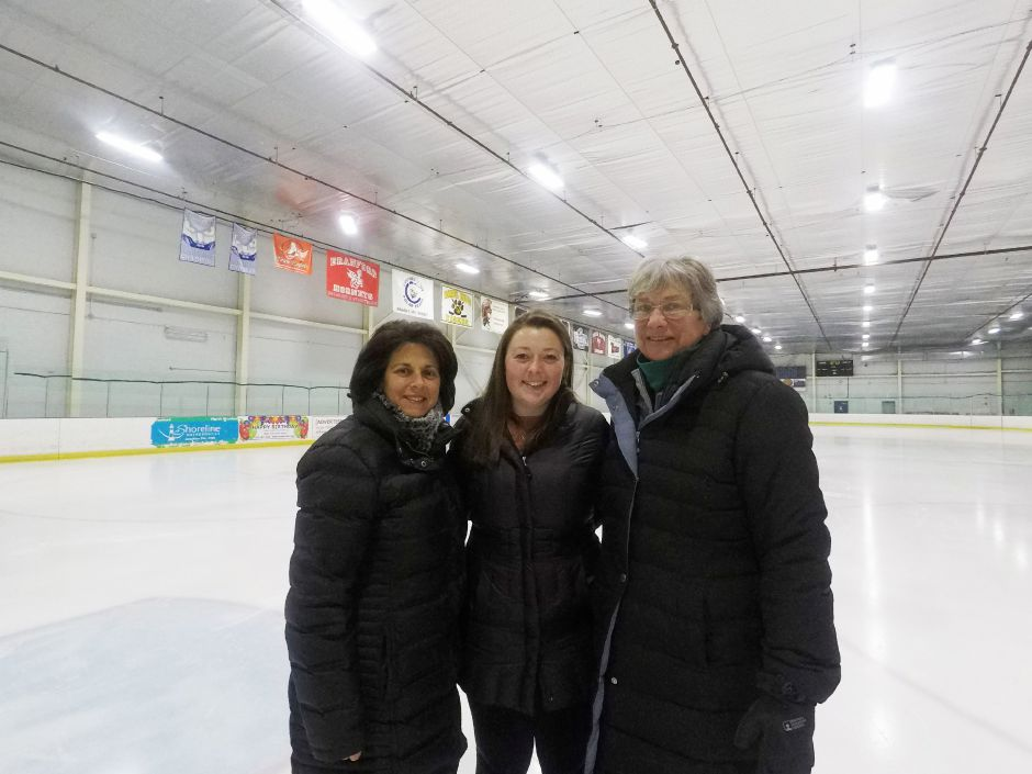 Ann Buccino-Katz, director of the Learn to Skate program, Sydney Hogan, a skating instructor, and Mary Anne Ferro, a skating instructor at Northford Ice Pavilion, 24 Firelite Place, Northford, Thursday, Jan. 3, 2019. | Ashley Kus, Record-Journal