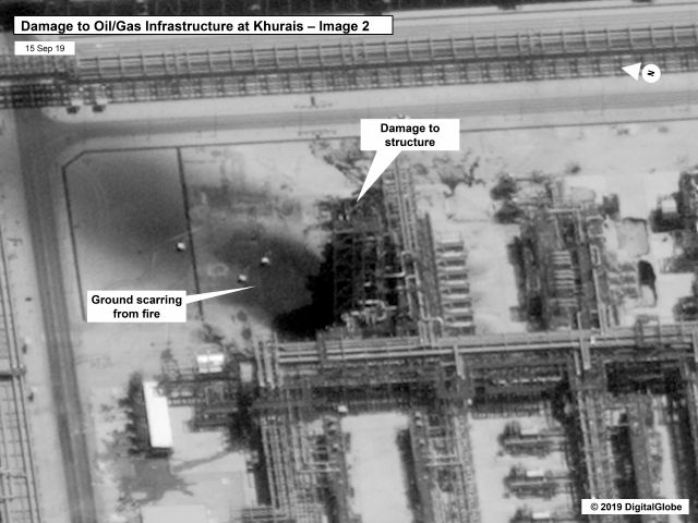 This image provided on Sunday, Sept. 15, 2019, by the U.S. government and DigitalGlobe and annotated by the source, shows damage to the infrastructure at Saudi Aramco